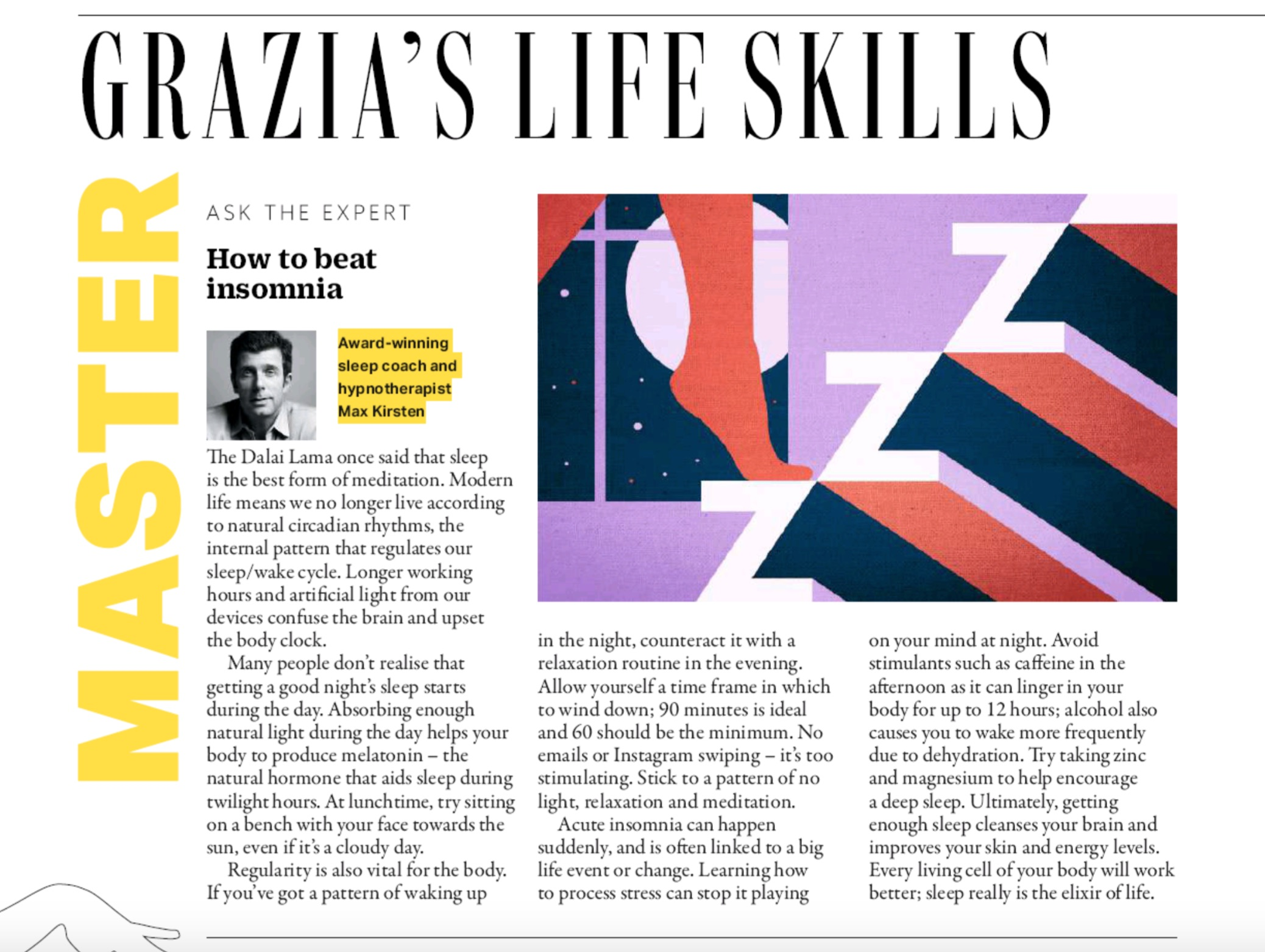 """Featured image for """"Max Kirsten Helps You Beat insomnia – Grazia Magazine"""""""